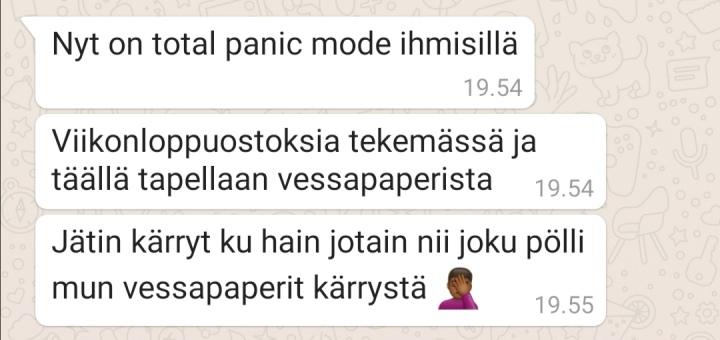 Koronavirustilanne Suomessa: Ystävän lähettämä viesti Suomen nykytilanteesta.