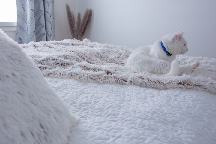 Makuuhuone näyttää nyt huomattavasti vaaleammalta, kiitos Torista löytyneiden peittojen.
